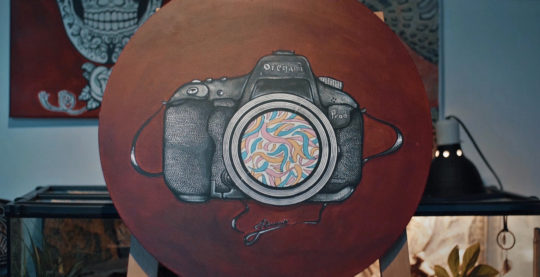 Oregami DSLR (acrylic paint)